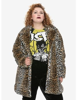 Leopard Print Faux Fur Girls Jacket Plus Size by Hot Topic