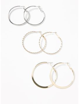 Metal Hoop Earring 3 Pair Set For Women by Old Navy