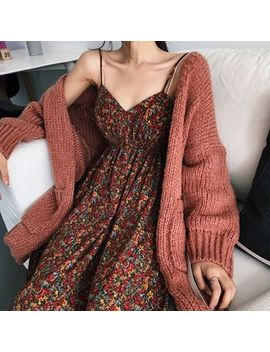 Alfie   Plain Loose Fit Cardigan / Floral Sleeveless Dress by Alfie