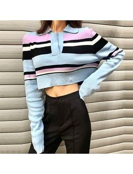 Alfie   Color Block Striped Long Sleeve Cropped Polo Shirt by Alfie