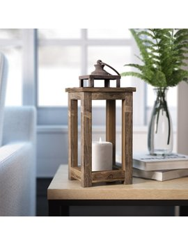 Laurel Foundry Modern Farmhouse Rustic Pillar Wood Lantern & Reviews by Laurel Foundry Modern Farmhouse