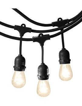 Amazon Basics Weatherproof Outdoor Patio String Lights S14 Bulb, Black, 48 Foot by Amazon Basics