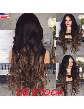 Women Curly Long Wig Hair Wavy Ombre Blonde Natural Synthetic Full Wigs Costume by Unbranded