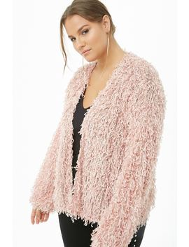 Plus Size Shaggy Open Front Cardigan by Forever 21