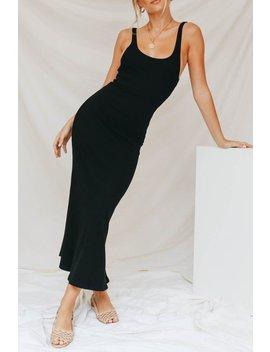 Ladies In Black Ribbed Midi Dress // Black by Vergegirl
