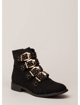 Studs 4 You Faux Suede Combat Boots by Go Jane