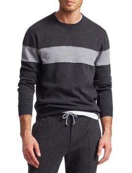 Spa Colorblock Crew Sweater by Brunello Cucinelli