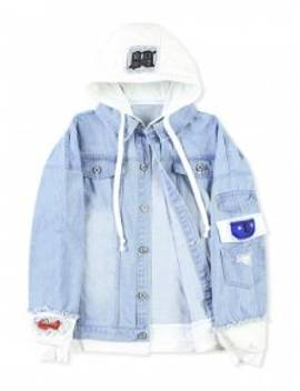 Casual Faux Pocket Ripped Letter Number Applique Hooded Jacket   Light Blue L by Zaful