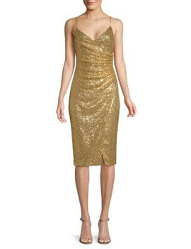 Bowery Ruched Sequined Slip Dress by Black Halo