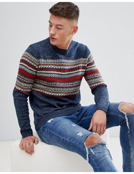 Pull&Bear Fair Isle Jumper In Blue by Pull&Bear