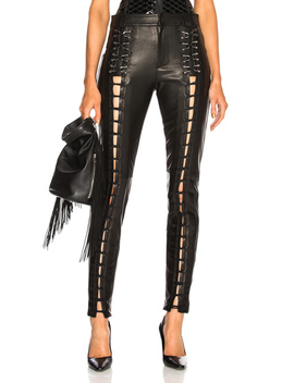 Leather Lace Up Leggings by Mugler