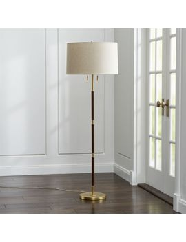 Owen Matte Brass Floor Lamp With Brown Leather by Crate&Barrel