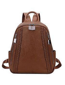 Women Backpack Purse,Ravuo Grain Pu Leather And Nylon Ladies Rucksack Small Casual Fashion Backpack For Girls by Ravuo