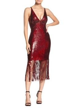 Frankie Sequin Fringe Bodycon Midi Dress by Dress The Population