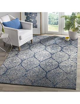 "Safavieh Madison Collection Mad604 G Navy And Silver Distressed Ogee Area Rug (5'1"" X 7'6"") by Safavieh"