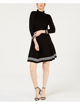 Ruffled Striped Trim Dress by Anne Klein