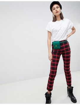 Mango Red Check Peg Trouser by Mango