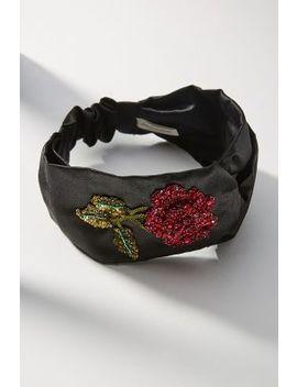 Rose Embroidered Silk Headband by Jennifer Behr