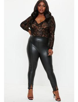 Plus Size Black Wet Look Cigarette Pants by Missguided