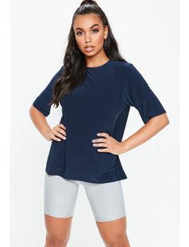 Navy Soft Touch Oversized T Shirt by Missguided