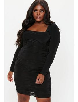 Plus Size Black Square Neck Midi Dress by Missguided