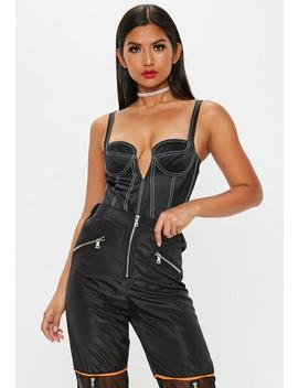 Black Seam Detail Satin Bodysuit by Missguided