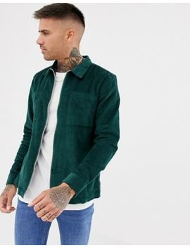 River Island Cord Overshirt In Dark Green by River Island