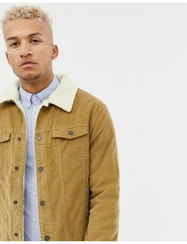 Pull&Bear Borg Lined Cord Jacket In Beige by Pull&Bear