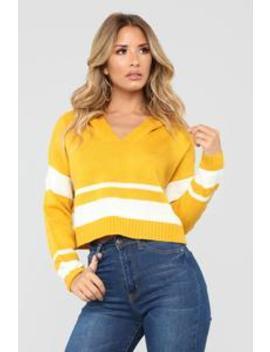 South Side Hooded Sweater   Mustard/Combo by Fashion Nova