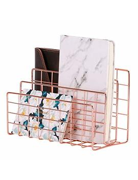 Simmer Stone Desktop Letter Sorter, Organizer For Mails Books Files Brochures Postcards Makeups And More, 3 Slot, Rose Gold by Simmer Stone