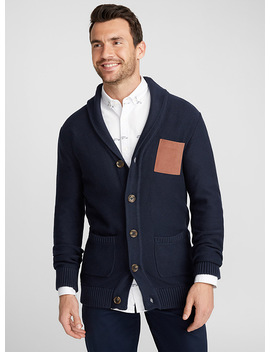 Faux Suede Pocket Shawl Collar Cardigan by Le 31