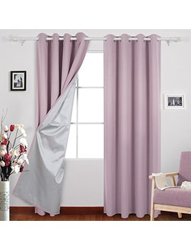 Deconovo Eyelet Curtains Room Darkening Thermal Insulated Ring Top Blackout Curtains For Kids Room With Backside Silver Backing 46 Width X 90 Drop Pink Lavender 1 Pair by Deconovo