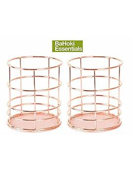 "Ba Hoki Essentials (Set Of 2) 4"" Rose Gold/Copper Wire Pencil Holders With Mesh Bottom   Desk Accessories by Ba Hoki Essentials"