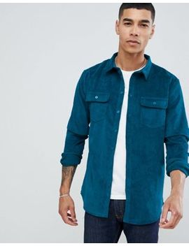 Boohoo Man Regular Fit Corduroy Shirt In Teal by Boohoo Man