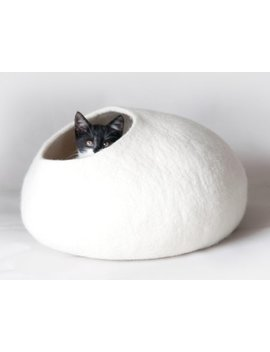 White Felt Cat Bed, Felt Cat Cave, Cat House, Vessel, Pet Furniture   Hand Felt Wool    Bubble Cocoon   Minimalistic Modern Design by Etsy