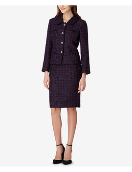 Four Button Metallic Boucle Skirt Suit by Tahari Asl