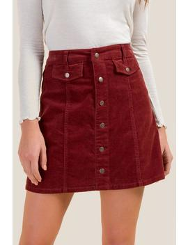 Ava Button Front Corduroy Skirt by Francesca's