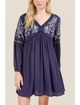 Mara Embroidered Shift Dress by Francesca's