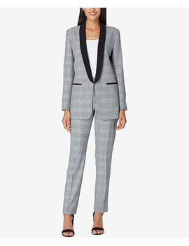Shawl Collar Plaid Pantsuit by Tahari Asl