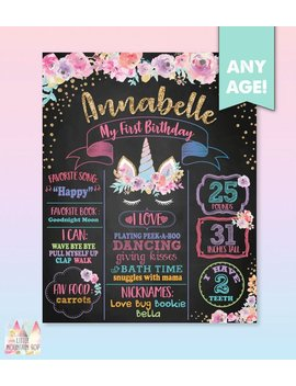 Unicorn First Birthday Poster. Unicorn Birthday Poster. Unicorn Birthday Board. Unicorn First Birthday Board. Unicorn First Birthday Poster by Etsy