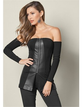 Faux Leather Panel Top by Venus