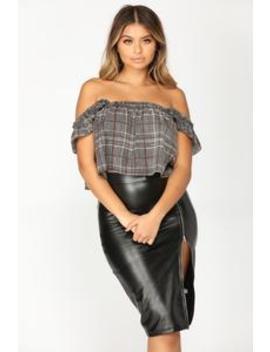 Elliana Plaid Top   Black/White by Fashion Nova