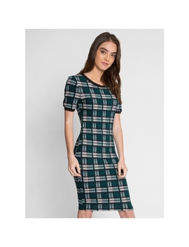 The Docks Plaid Knit Dress In Green by Wet Seal