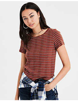 Ae Ribbed Striped Baby Tee by American Eagle Outfitters