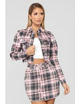 Plaid Gal Jacket   Pink/Combo by Fashion Nova
