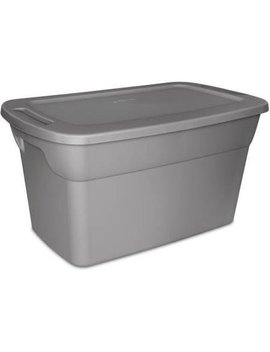 Sterilite 30 Gallon Tote Plastic Storage Box  Steel With Lid, Case Of 6 by Sterilite