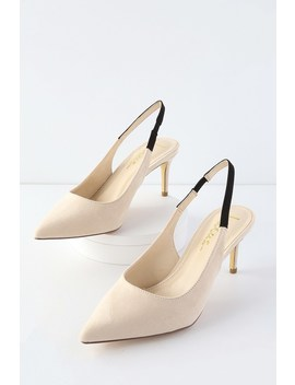 Christa Black And Nude Suede Pointed Toe Slingback Pumps by Lulus