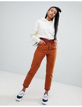 Asos Design Waxed Wide Leg Pants With Fold Waist Detail by Asos Design