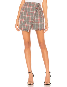 Carol Plaid Fringe Skirt by By The Way.