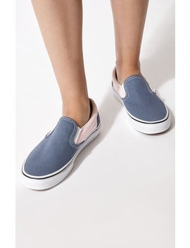 Vans Women's Classic Blue & Pink Slip On Sneakers by Pacsun